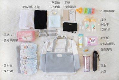 媽媽後背包可放置的所有物品展示