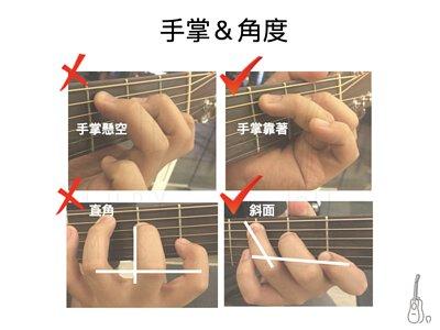 彈吉他應注意手掌位置及角度