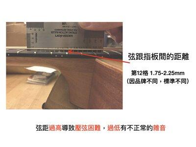 吉他弦距應為1.75-2.25mm