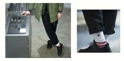 nozzle quiz 專訪 誠品生活松菸店,一個單身男子的房間快閃店主理人marco,紅色條紋機能襪履的搭配營造出輕鬆隨意的態度。