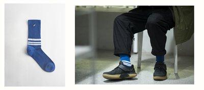 nozzle quiz 專訪 誠品生活松菸店,一個單身男子的房間快閃店主理人marco,著用 nozzle quiz 條紋中筒襪,機能襪履與運動鞋款配出日系休閒風。