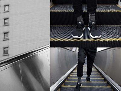 """台灣街頭襪子品牌 nozzle quiz 與銀飾品牌 """"Recovery""""  首次聯名創作,與銀飾品牌Revocery共同刻劃。以水泥建築與空間為概念,透過機能襪履創作出台北都市的冷調。黑色運動鞋與條紋襪子的搭配。"""