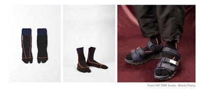GOOPiMADE®孤僻株式會社與nozzle quiz 後研合作推出機能襪履,以經典長襪足袋為原形,溶入兩趾忍者襪概念,開發超高實穿性的Utility 襪子,不論撞色款與素色款都帶來豐富設計層次。