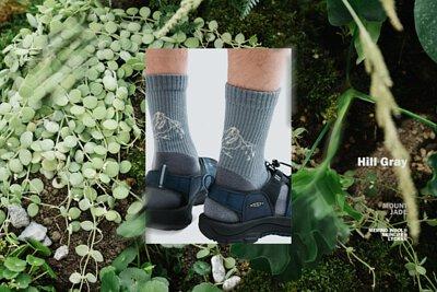 nozzle quiz x HANCHOR 合作系列美麗諾羊毛 (Merino wool) 登山襪《Forest trail》,灰色款 - 嶽岩