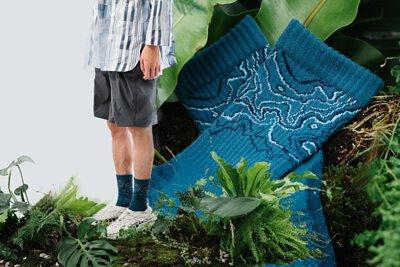 nozzle quiz x HANCHOR 合作系列美麗諾羊毛 (Merino wool) 登山襪《Forest trail》,藍色款 - 峽藍