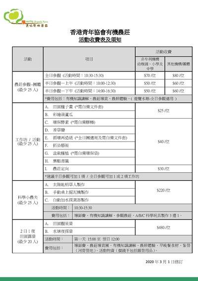香港青年協會有機農莊收費 - 須知及守則 - 2020年4月