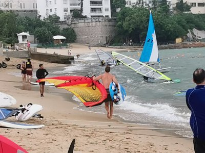 Wing with windsurf board