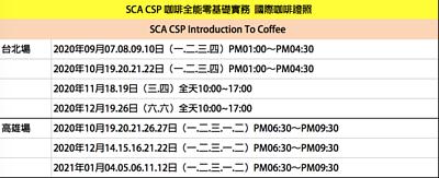 SCA咖啡全能零基礎實務班 國際咖啡證照