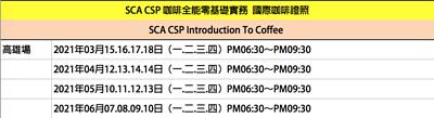 SCA 認識咖啡全能班