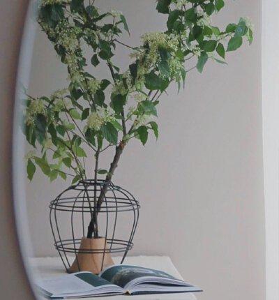 黑澀上下花器與綠色植物
