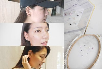 Ninnie 部落格 的部落客 Ninnie 實戴分享多款 Mrs.Yue & Miss.Yue 無痛夾式耳環