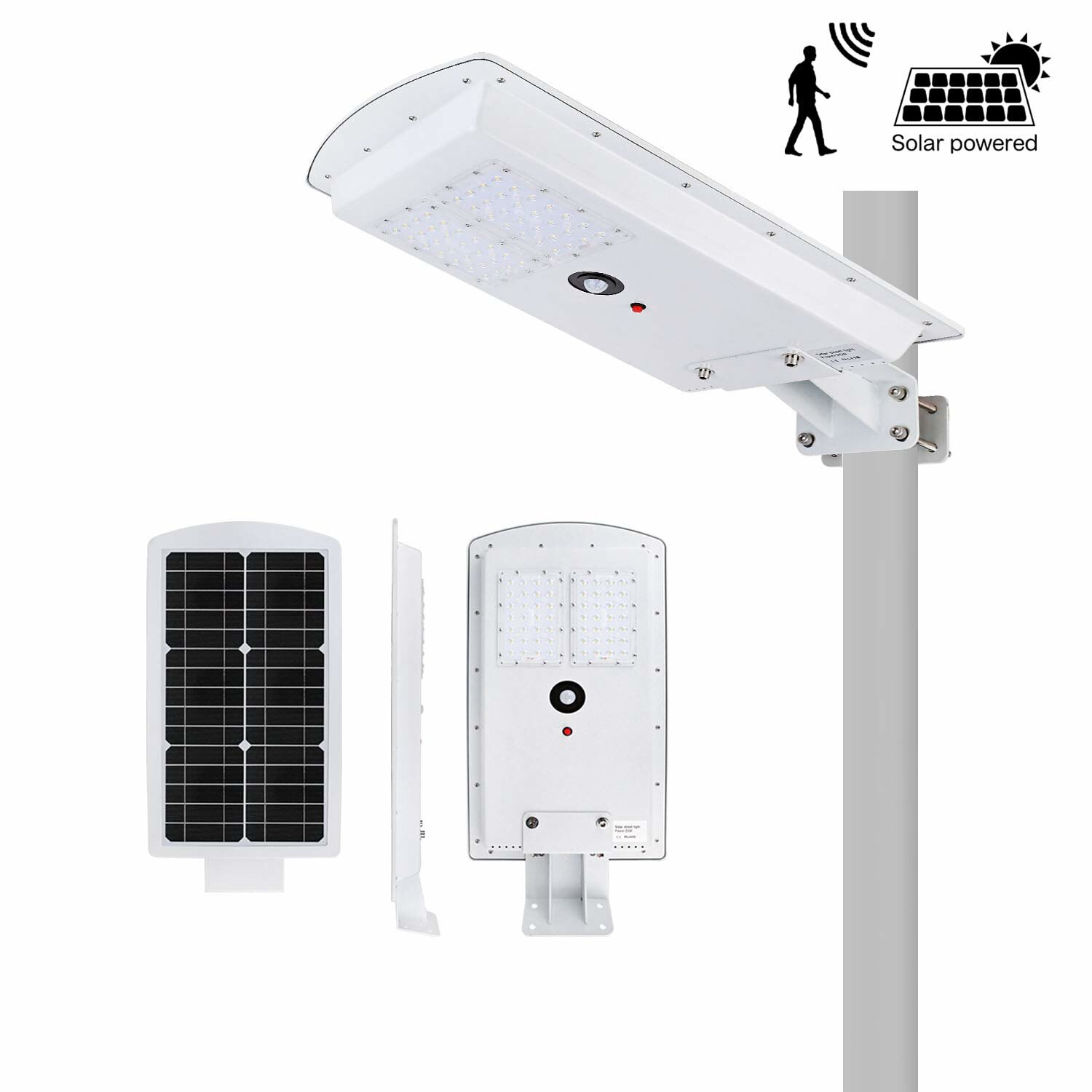 Solar LED Street Light 25W Auto On//Off Dusk to Dawn Integrated Waterproof IP65 Outdoor Flood Light with PIR Motion Sensor All-in-one Cordless Solar Powered Commercial Security Lights 6500K Ultra-brigh