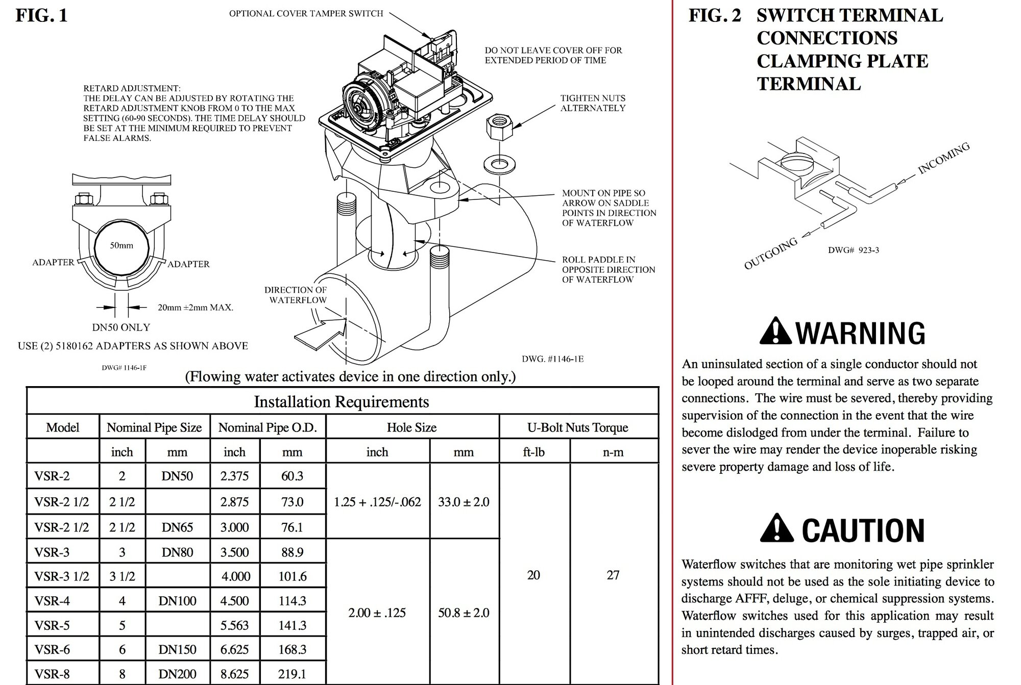 Potter Model VSR Vane Type Water Flow Switch with Retar on