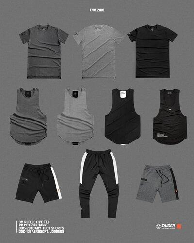 機能運動服飾,黑色和灰色的上衣、背心、短褲、長褲
