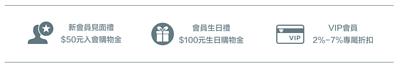 新會員享50元購物金, 會員生日禮100元購物金, VIP會員專屬2%-7%專屬折扣