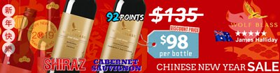 2019 Chinese New Year sale - Australian Wolf Blass Red Wines Gold Label Barossa Shiraz & Coonawarra Cabernet Sauvignon