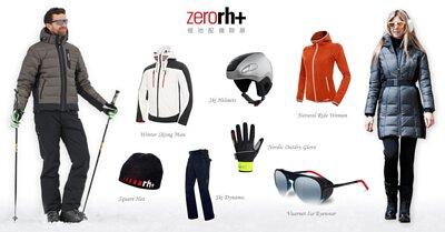 ZeroRH+分別為不同海拔高度設計,依天氣冷度推出輕量至防水雪衣,具備各種功能,滿足各種需求。不以保暖為滿足,更依照人體活動所需延展性,比照肌肉结構以不同頂極彈性系數布料,分佈於活動關節;蜂單式結構更抗磨損