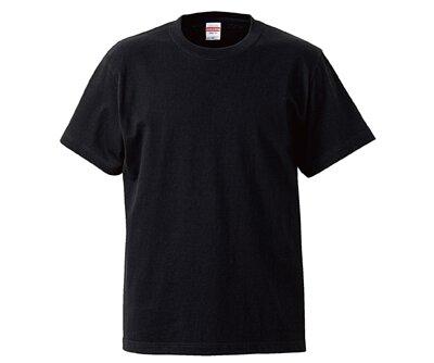 UnitedAthle 3500101 - 5.6oz 黑色純棉無接縫中性圓領短T(正)