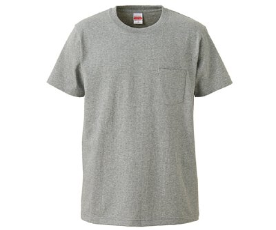 UnitedAthle 3425301 - 7.1oz 麻灰色純棉重磅有口袋中性圓領短T(正)
