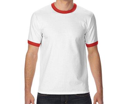 GILDAN 76600 - 5.3oz 白滾紅色邊純棉亞規中性圓領短T(正)