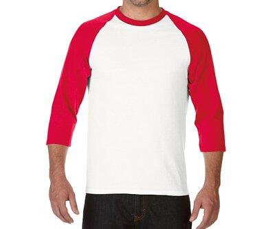 GILDAN 76700 - 5.3oz 白撞紅色純棉亞規拉克蘭七分袖中性圓領棒球T(正)