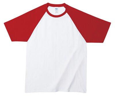 GILDAN 76500 - 5.3oz 白撞紅色純棉亞規拉克蘭短袖中性圓領棒球T