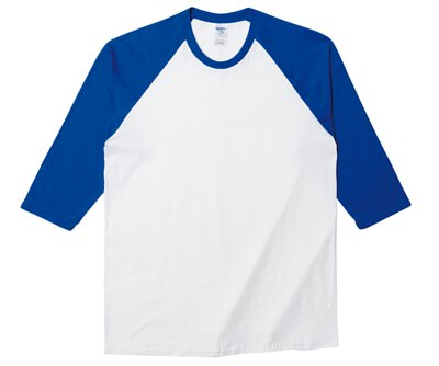 GILDAN 76700 - 5.3oz 白撞寶藍色純棉亞規拉克蘭七分袖中性圓領棒球T