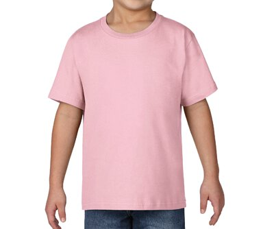 GILDAN 76000B - 5.3oz 粉紅色純棉亞規兒童圓領短T人像照(正)