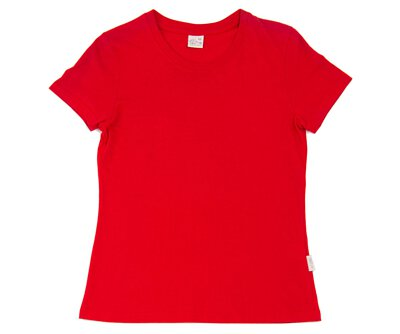 MIT 203 - 紅色純棉水洗女版圓領短T(正)