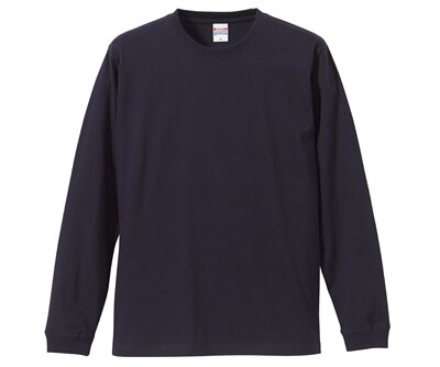 UnitedAthle 3501101 - 5.6oz 深藍色純棉羅紋袖口中性圓領長袖T