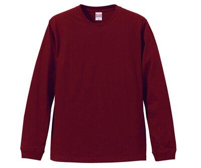 UnitedAthle 3501101 - 5.6oz 酒紅色純棉羅紋袖口中性圓領長袖T(正)