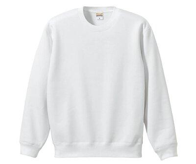 UnitedAthle 3592801 - 10oz 白色棉質內刷毛中性圓領大學T