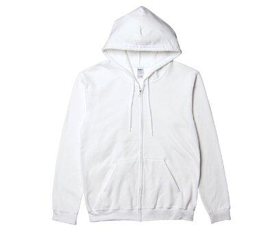 GILDAN 88600 – 8.4oz 白色棉質亞規加絨連帽拉鍊外套