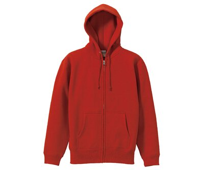 UnitedAthle 3562001 - 10oz 紅色棉質內刷毛前置口袋連帽拉鍊外套