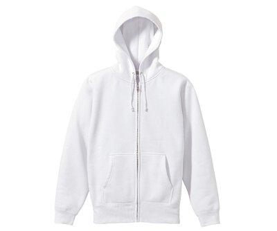 UnitedAthle 3562001 - 10oz 白色棉質內刷毛前置口袋連帽拉鍊外套(正)