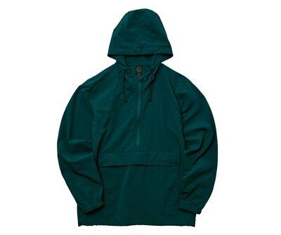 UnitedAthle 3721101 - 古董綠色棉花狀尼龍連帽防風上衣(正)