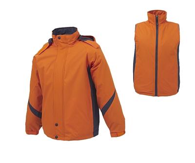 886防水透氣兩件式可拆帽外套 - 橘配深灰色