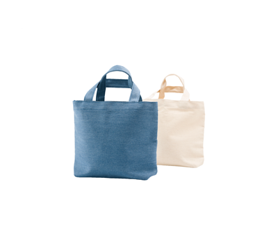台灣製純棉帆布環保無毒 - 萬用輕提袋(杯袋、餐袋、隨身小物) - 水藍牛仔、胚布色