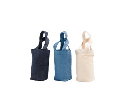 台灣製純棉帆布環保無毒 - 萬用手提杯袋 - 水藍牛仔、深藍牛仔、胚布色