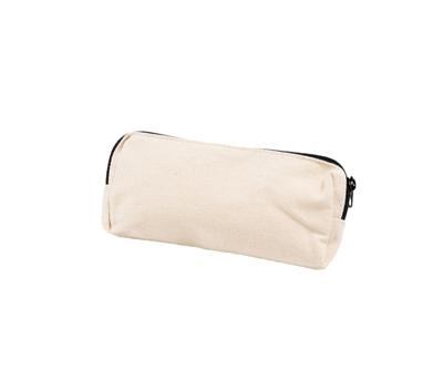 台灣製純棉帆布環保無毒 - 胚布色文具袋(黑色拉鍊)