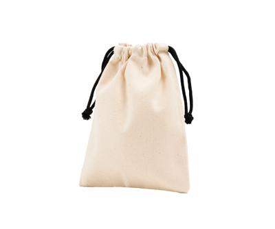 台灣製純棉帆布環保無毒 - 胚布色小束口袋(黑繩)