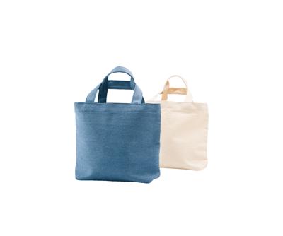 台灣製純棉帆布環保無毒 - 萬用輕提袋(杯袋、餐袋、隨身小物) - 牛仔藍、胚布色