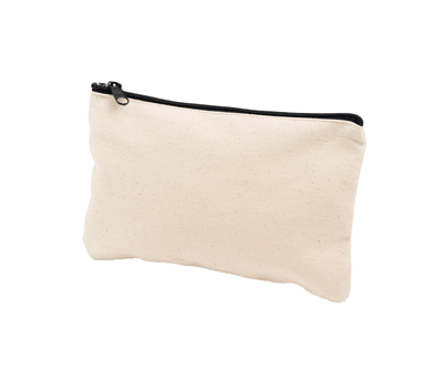 台灣製純棉帆布環保無毒 - 胚布色大化妝包(化妝包、票據袋、分類袋)(黑色拉鍊)
