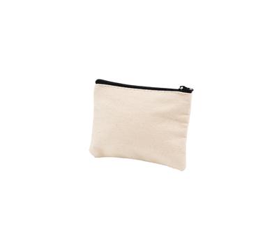 台灣製純棉帆布環保無毒 - 胚布色小拉鍊包(零錢包、證件卡片袋)(黑色拉鍊)