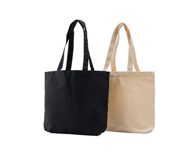 台灣製純棉帆布環保無毒 - 萬用大方提袋(杯袋、餐袋、隨身品) - 黑色、胚布色