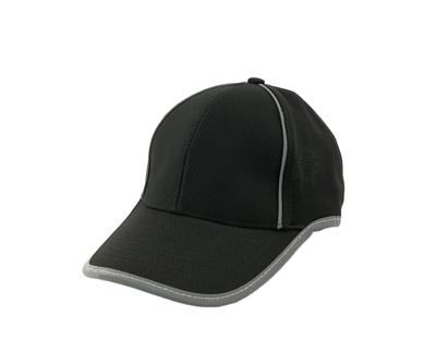台灣製黑色六片反光網眼帽 - 帽體黑色,兩側灰飾線