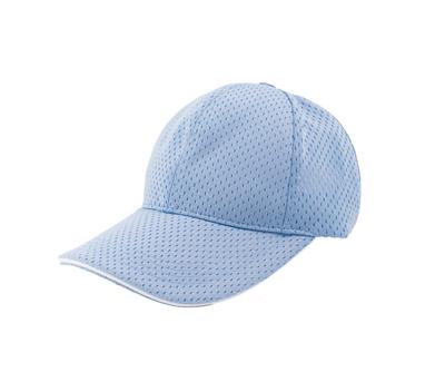 台灣製水藍色六片透氣帽 - 帽體有透氣孔,帽眉白色邊線