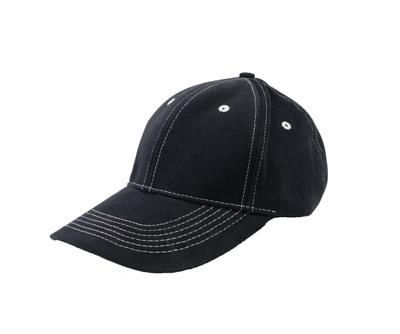 台灣製黑色六片明線棉帽 - 帽體黑色,縫線白色
