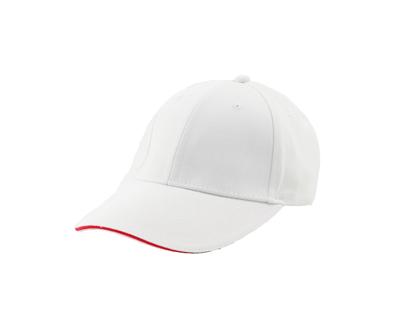 台灣製白色六片磨毛棉帽 - 帽體白色,帽眉紅色邊線
