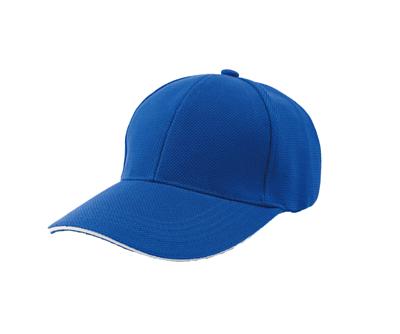 台灣製寶藍色六片網眼帽 - 帽體藍色,帽眉白色邊線
